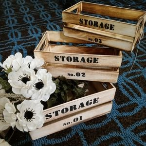 NWT Charred Cedar Wooden Crate Storage Set of 3